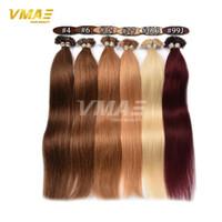yapıştırıcı toptan satış-VMAE Ön gümrük Keratin Saç Uzantıları Remy İnsan Saç Tırnak U İpucu Işlenmemiş Saç Uzatma 1B 613 # 27 # Sarışın Keratin Tutkal Postiş