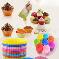 Wholesale Muffins Cups - Newest Round shape Silicone Muffin Cupcake Mould Bakeware Maker Mold Tray Baking Cup Liner Baking Molds B0105.