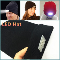Wholesale Light Up Hats Wholesale - LED Lighting Knitted Hat Women Men Camping knitted Cap Travel Hiking Climbing Sport Hats Warm Winter Light Up Beanie Skull Caps 2017