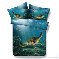 Wholesale Underwater World Print - Underwater World Tortoise Turtle 3D Printed Bedding Sets Twin Full Queen King Size Bedspreads Bedclothes Duvet Covers Animal 600TC 3 4PCS