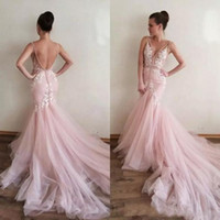 Wholesale Memaid Dresses Chapel Train - Gorgeous 2018 Blush Pink Tulle Sexy Backless Beach Memaid Wedding Dresses With Lace V Neck Chapel Train Bridal Gowns Custom Made EN101711