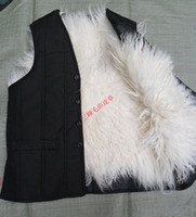 Wholesale Thermal Leather Vest - Wholesale- Real fur male vest waistcoat thermal vest men's clothing genuine leather liner 100% wool sheepskin black eldly men plus size TB