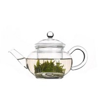 Wholesale Pyrex Glass Tea Pot - 8.62 fl.oz 250ml Heat-Resisting Clear Pyrex Glass Teapot Coffee Tea Pot Set Juice Kettle With Two Tea Cups Free Shipping