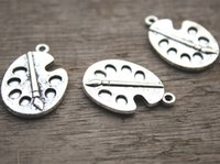 Wholesale Pallet Paint - 10pcs-Paint palette charms, Antique Tibean silver Paint Pallet Charm Pendant 28x19mm
