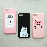 Wholesale Iphone Case 3d Pig - For iPhone 7 Case 3D Kawaii Middle Finger Cat Lucky 7 Pig Matte Phone Cases Rubber Cover for iPhone7 Plus 6 s 6s plus 6plus 5 5s se