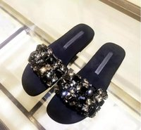 2017 Moda Mulheres Flat Shoes Rhinestone Beading Slides Crystal Sandálias Embellished Sexy Black Beach Shoes Mulher Real Photo flip flop