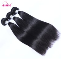 Wholesale Double Drawn Straight Remy Hair - Indian Straight Virgin Human Hair Weave Bundles Unprocessed Raw Indian Remy Human Hair Extensions Natural Black Double Drawn Wefts 3 PCS Lot