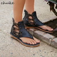 Wholesale Lady Flange - Newest Vintage Summer Ladies Sandals Neutral Side Lace-Up Shoes Gladiator Flange Flip-Flop Flat Sandals For Women