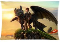 Wholesale Train Pillow Case - 2pcs Custom How to Train Your Dragon Pattern Zippered Cotton Polyester Pillow Case 20x30 (Twin sides)