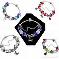 europa-perlen-art und weisearmband großhandel-Großhandel Chamilia Perlen Armbänder Europa American Fashion Lila Kristall Perlen DIY Handgemachte Perlen Kristall Damen Armband