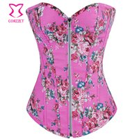Wholesale corset top patterns - Pink Floral Pattern Denim Zipper Corset Top Burlesque Cowgirl Sexy Corsets And Bustiers Gothic Corpete E Corseletes Espartilhos