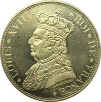 Wholesale Ae Silver - France Louis XVIII 1817 AE 5 Francs Duchesse Brass Plated Silver Copy Coins
