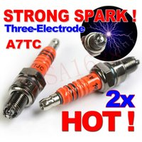 Wholesale 125cc Mopeds - 2x A7TC Motorcycle Spark Plug 50cc 70cc 90cc 110cc 125cc ATV Dirtbike 50 125 150cc Moped Scooter A7TJC Three-Electrodes