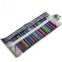 Wholesale Brushed Aluminum Wrap - Wholesale- Special Use 36 Holes Artist Pencils Brush Pouch Case Pencil Wrap Pen Box Case Canvas Roll Up Makeups Storage Bag Comestic Bags