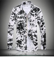 Wholesale Glossy Down - Autumn Mercerized flowers printed shirts men loose Floral printing Glossy long-sleeved shirts men Size M-7XL