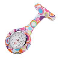 Wholesale Mens Clip Watches - 2016 nurse clip pocket watch fashion flower printing doctor Medical silicone wholesale mens womens ladies quartz Leopard watches 4000pcs