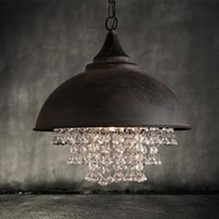 Wholesale Led Switch Cover - American country style retro industrial pot cover iron luxury crystal pendant lights living room hotel clubs pendant lamp