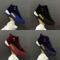 Wholesale Satin Silk Cushions - 2017 With Box Air Retro 12 Royal Blue Black Purple Wine Red Suede Velvet Heiress Basketball Shoes Sneakers for Men Women Outdoor Sports Shoe