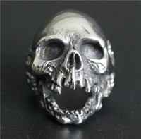 Wholesale Ghosts Band - 5pcs lot Newest Design Size 7-15 Huge Ghost Skull Ring 316L Stainless Steel Fashion Jewelry Popular Dead Skull Ring