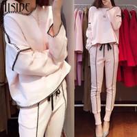 Wholesale American Suits For Ladies - 2017 Hot Sale Lady Tracksuit Women Sweatshirt +Pant Track suit 2 Piece Set Sporting Suit for women autumn pink suit sets