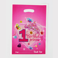 Venda Por Atacado - 12pcs Loot Bag for Kids Birthday / festival Decoração do partido 1st Pretty Girl Theme Party Supplies Bolo de doces Shopping Gift Bag
