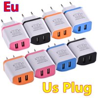 Wholesale port designs - Fashion design Dual usb ports EU & US 2.1A Ac home wall charger travel adapter for iphone 7 8 X for samsung s7 s8 note 8 mp3