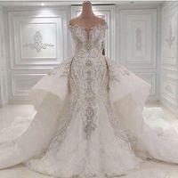 Wholesale Rhinstone Beads - 2016 Portrait Mermaid Wedding Dresses With Overskirts Lace Ruched Sparkle Rhinstone Bridal Gowns Dubai Vestidos De Novia Custom Made