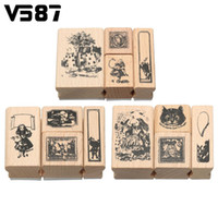 Wholesale Decorative Stamp Set - Wholesale- 4Pcs Vintage Wooden Alice Blocks Craved Rubber Stamp Box Set DIY Scrapbooking Album Craft Decorative Tools Gadgets Stationery