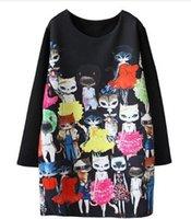 Wholesale Short Sleeve Cat Dress - 2017 Spring Autumn New Fashion Women Dress kpop Cat Carton Print Casual Long Sleeve Female Short Dress Plus Size
