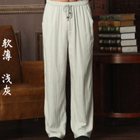 Wholesale men tai chi pants - Wholesale-New Arrival Chinese Men's Kung Fu Trousers Cotton Linen Kung Fu Pant Tai Chi Pants Wu Shu Pants Size M L XL XXL XXXL W37