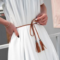 Wholesale Thin Waist Tie Belt - Wholesale- 2017 New Fashion PU Leather Tassel Ladies Braided Belt Self-Tie Thin Waist Rope Belt Belts For Women 12 Color length of 125 cm