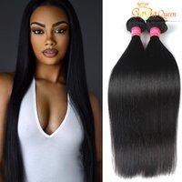 Wholesale Soft Virgin Hair - 3Bundles Brazilian Virgin Hair Straight Gaga Queen Hair Products 7A 100%Unprocessed Human Weave Brazilian Straight Hair Extensions Soft