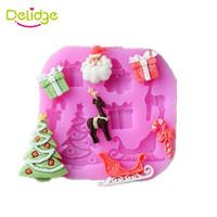 Wholesale Christmas Tree Silicone Mould - Delidge 20 pc Merry Christmas Cake Mold Silicone Gift Box Elk Tree Shape Fondant Mold Cake Decoration Santa Candy Chocolate Mold