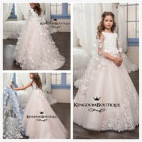 Wholesale Gold Butter - 2017 New Cute Crew Neck Lace Flower Girl' Dresses Sleeveless Butter Fly Tulle Applique Beaded A Line Little Girls 'Wedding Party Dresses