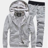 Wholesale Thick Sweatpants - Wholesale- Plus Size Tracksuits Men Hoodie Streetwear Coat 2016 Brand Hoody Sweatshirts Thick Wool Liner Sweatpants Winter Warm Track Suit