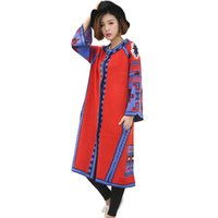 Wholesale vintage long sweater coat - Wholesale-2016 Autumn Winter Knit Long Coat VIntage Ethnic Geometric Long Cardigan Feminino Coats For Women Oversized Sweaters Plus Size