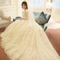 Wholesale Tail Ball Shorts - High-grade SSYFashion Wedding Dresses Vestido De Novia Bride Princess Lace Flower Short Sleeves Long Tail Elegant Wedding Gown