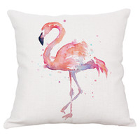 Wholesale Free Cushion Cover Patterns - Spring summer flamingo style cushion covers in 6 patterns cotton linen blends for home decoration free shipping