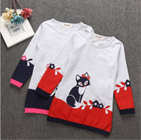 Wholesale 2t Sweater Dress - Girls Dresses Fox Cartoon Dress Animal Print Dress Winter Princess Dress Cotton Fashion Dresses Long Sleeve Sweater Baby Kids Clothes B2976