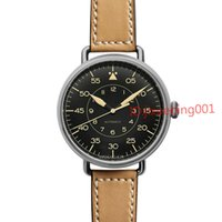 Wholesale Vintage Bell Watch - Wholesale-Men's Luxury Stainless Steel Automatic WATCHES Brown Leather Strap Bell BR Through Skeleton MILITARY VINTAGE HERITAGE Men's Watch