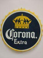 bira bar tasarımları toptan satış-Corona Ekstra Vintage yuvarlak teneke işareti şişe kapağı tasarım bira kap Bira için Metal bar poster metal zanaat ev bar restoran kahve dükkanı