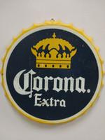 craft bottle caps venda por atacado-Corona Extra Vintage rodada sinal da lata tampa da garrafa projeto cerveja cap Cerveja barra de Metal cartaz ofício do metal para casa bar restaurante coffe shop
