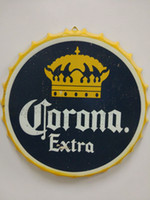 Wholesale Vintage Antique Bottles - Corona Extra Vintage round tin sign bottle cap design beer cap Beer Metal bar poster metal craft for home bar restaurant coffe shop