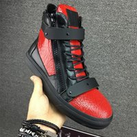 Wholesale Top Shoe Decoration - luxury men casual shoes mens trainers brand new women sneakers with Metal decoration rivet Patent leather Double zipper high top shoes