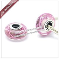 Wholesale Murano Ribbons - S925 Sterling Silver jewelry Pink ribbon Murano Glass Beads Fit European DIY pandora Charm Bracelets & Necklace