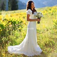 vestido de sirena con cinturón al por mayor-Cap Mangas Vintage encaje blanco bohemio país vestidos de boda 2019 Sheer Mermaid Vestidos de novia baratos Modest Beach vestido de novia con cuentas cinturón