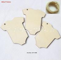 etiquetas do chuveiro de bebê venda por atacado-Atacado- (50pcs / lot) 65 milímetros x 70 milímetros naturais fatos de madeira inacabados Baby Shower Favor Tag String Pendurado -CT1189