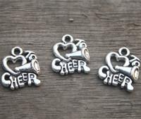 Wholesale Cheer Charm Silver - 20pcs--I love to cheer charms, Cheerleader Megaphone Charm pendants, Cheer, Cheerleading 16x14mm11