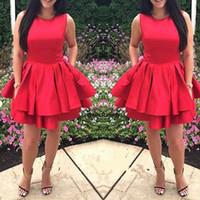 Wholesale Red Line Tires - 2017 Newest Scoop Neck Red Homecoming Dresses Cute Satin Tired Mini Short Zipper Back 8th Grade Graduation Party Dresses Vestido De Fiesta