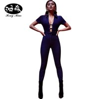 Wholesale Deep V Neck Jumpsuit Bodysuit - Wholesale- women jeans sexy jumpsuit Denim Rompers Bandage Hollow sash Front tie up blue jean deep V neck bodysuit skinny Jumpsuits womens